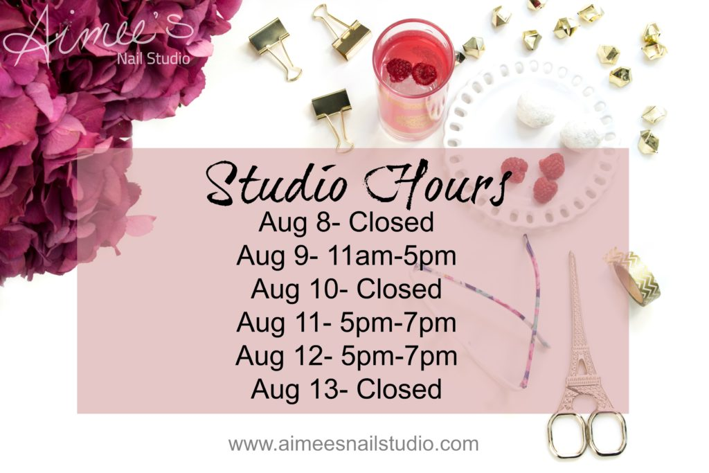 Studio Hours Aug 8-13